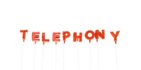 TELEPHONY - word made from red foil balloons - 3D rendered.  Can be used for an online banner ad or a print postcard.