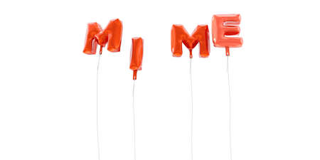 mimo: MIME - word made from red foil balloons - 3D rendered.  Can be used for an online banner ad or a print postcard. Foto de archivo