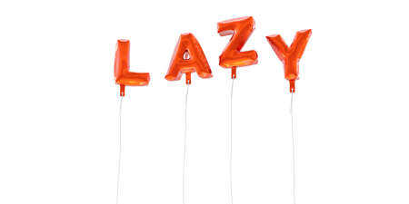 LAZY - word made from red foil balloons - 3D rendered.  Can be used for an online banner ad or a print postcard. Stock Photo
