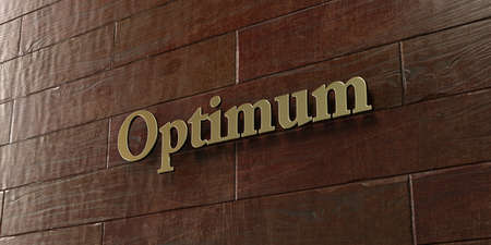 optimum: Optimum - Bronze plaque mounted on maple wood wall  - 3D rendered royalty free stock picture. This image can be used for an online website banner ad or a print postcard.