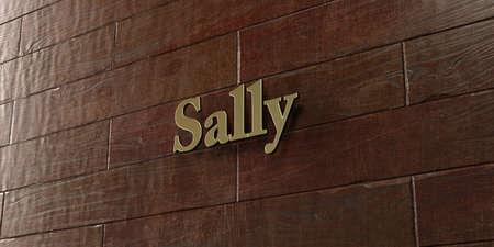 サリー - 3 D レンダリングされたロイヤリティ フリーのストック画像 - メープル木製壁面マウント ブロンズ プラーク。この画像は、オンラインの web サイトのバナー広告や印刷はがきの使用できます。 写真素材 - 72207813