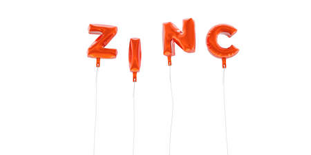 ZINC - word made from red foil balloons - 3D rendered.  Can be used for an online banner ad or a print postcard.