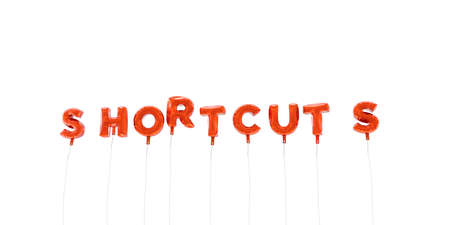 shortcuts: SHORTCUTS - word made from red foil balloons - 3D rendered.  Can be used for an online banner ad or a print postcard. Stock Photo