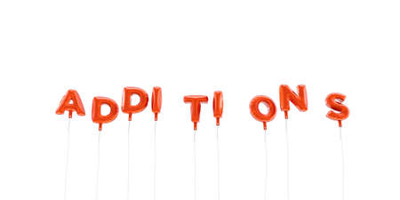 ADDITIONS - word made from red foil balloons - 3D rendered.  Can be used for an online banner ad or a print postcard. Stock Photo