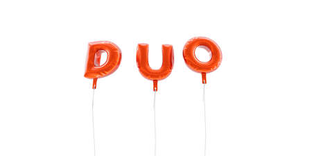 DUO - word made from red foil balloons - 3D rendered.  Can be used for an online banner ad or a print postcard.