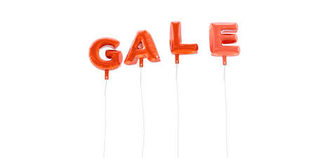 gale: GALE - word made from red foil balloons - 3D rendered.  Can be used for an online banner ad or a print postcard. Stock Photo