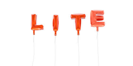 lite: LITE - word made from red foil balloons - 3D rendered.  Can be used for an online banner ad or a print postcard.