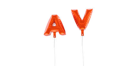 AV - word made from red foil balloons - 3D rendered.  Can be used for an online banner ad or a print postcard. Stock Photo