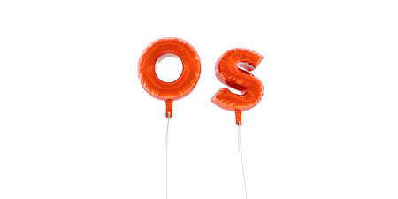 OS - word made from red foil balloons - 3D rendered.  Can be used for an online banner ad or a print postcard.