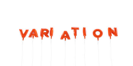 VARIATION - word made from red foil balloons - 3D rendered.  Can be used for an online banner ad or a print postcard. Stock Photo
