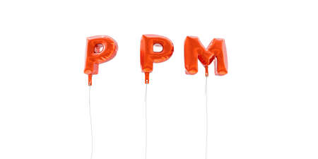 PPM - word made from red foil balloons - 3D rendered.  Can be used for an online banner ad or a print postcard. Stock Photo