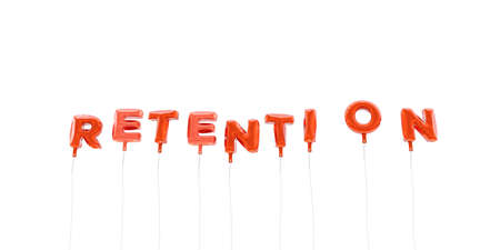 retention: RETENTION - word made from red foil balloons - 3D rendered.  Can be used for an online banner ad or a print postcard.