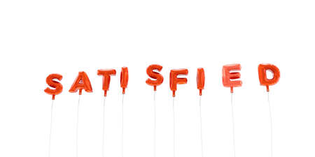 SATISFIED - word made from red foil balloons - 3D rendered.  Can be used for an online banner ad or a print postcard.
