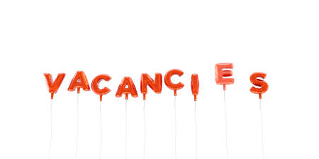 VACANCIES - word made from red foil balloons - 3D rendered.  Can be used for an online banner ad or a print postcard. Stock Photo