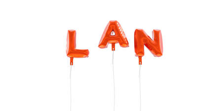 lan: LAN - word made from red foil balloons - 3D rendered.  Can be used for an online banner ad or a print postcard.