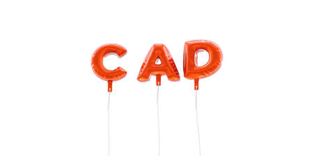 CAD - word made from red foil balloons - 3D rendered.  Can be used for an online banner ad or a print postcard. Stock Photo