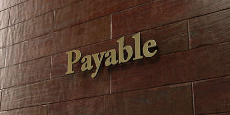 payable: Payable - Bronze plaque mounted on maple wood wall  - 3D rendered royalty free stock picture. This image can be used for an online website banner ad or a print postcard. Stock Photo