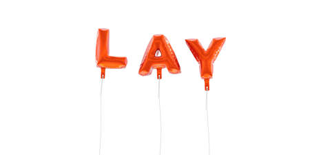 LAY - word made from red foil balloons - 3D rendered.  Can be used for an online banner ad or a print postcard.