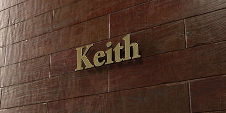 keith: Keith - Bronze plaque mounted on maple wood wall  - 3D rendered royalty free stock picture. This image can be used for an online website banner ad or a print postcard.