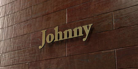 Johnny - Bronze plaque mounted on maple wood wall  - 3D rendered royalty free stock picture. This image can be used for an online website banner ad or a print postcard.