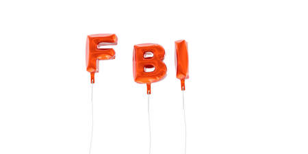 fbi: FBI - word made from red foil balloons - 3D rendered.  Can be used for an online banner ad or a print postcard. Stock Photo