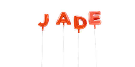 JADE - word made from red foil balloons - 3D rendered.  Can be used for an online banner ad or a print postcard.