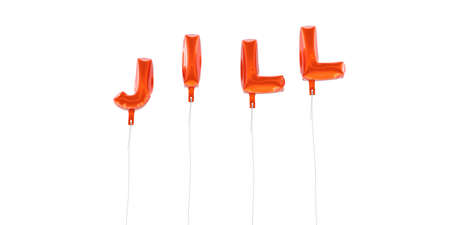 jill: JILL - word made from red foil balloons - 3D rendered.  Can be used for an online banner ad or a print postcard. Stock Photo