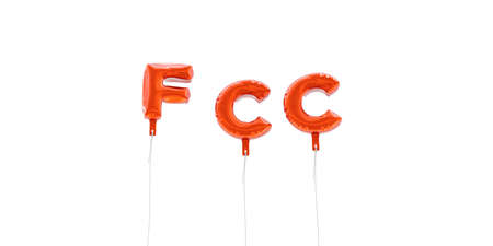 fcc: FCC - word made from red foil balloons - 3D rendered.  Can be used for an online banner ad or a print postcard. Stock Photo