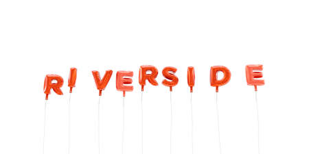 RIVERSIDE - word made from red foil balloons - 3D rendered.  Can be used for an online banner ad or a print postcard. Stock fotó