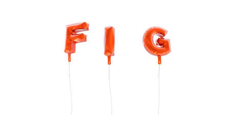 FIG - word made from red foil balloons - 3D rendered.  Can be used for an online banner ad or a print postcard.