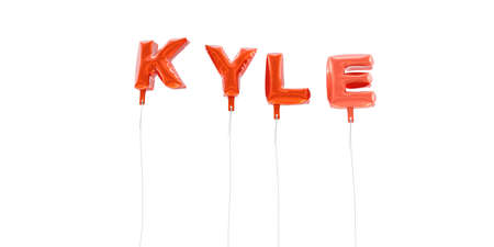 kyle: KYLE - word made from red foil balloons - 3D rendered.  Can be used for an online banner ad or a print postcard.