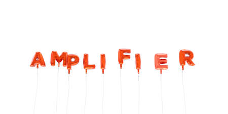 AMPLIFIER - word made from red foil balloons - 3D rendered.  Can be used for an online banner ad or a print postcard.