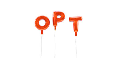 OPT - word made from red foil balloons - 3D rendered.  Can be used for an online banner ad or a print postcard. Stock Photo