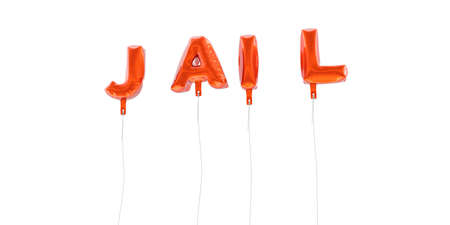 JAIL - word made from red foil balloons - 3D rendered.  Can be used for an online banner ad or a print postcard.