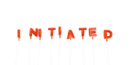 INITIATED - word made from red foil balloons - 3D rendered.  Can be used for an online banner ad or a print postcard.