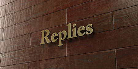 replies: Replies - Bronze plaque mounted on maple wood wall  - 3D rendered royalty free stock picture. This image can be used for an online website banner ad or a print postcard.