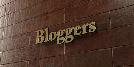 Bloggers - Bronze plaque mounted on maple wood wall  - 3D rendered royalty free stock picture. This image can be used for an online website banner ad or a print postcard. Stock Photo