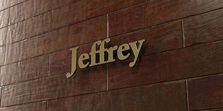 jeffrey: Jeffrey - Bronze plaque mounted on maple wood wall  - 3D rendered royalty free stock picture. This image can be used for an online website banner ad or a print postcard.