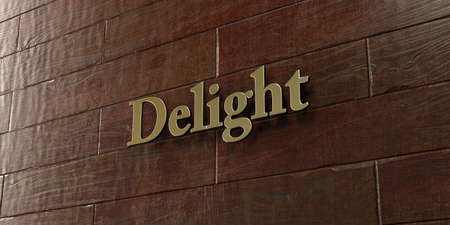 delight: Delight - Bronze plaque mounted on maple wood wall  - 3D rendered royalty free stock picture. This image can be used for an online website banner ad or a print postcard.