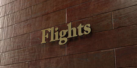 Flights - Bronze plaque mounted on maple wood wall  - 3D rendered royalty free stock picture. This image can be used for an online website banner ad or a print postcard.