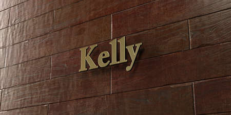 kelly: Kelly - Bronze plaque mounted on maple wood wall  - 3D rendered royalty free stock picture. This image can be used for an online website banner ad or a print postcard.