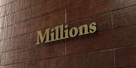 millions: Millions - Bronze plaque mounted on maple wood wall  - 3D rendered royalty free stock picture. This image can be used for an online website banner ad or a print postcard.