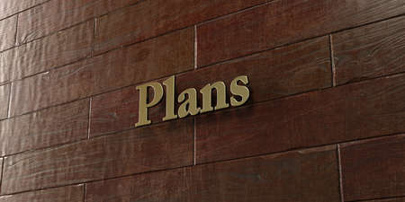 Plans - Bronze plaque mounted on maple wood wall  - 3D rendered royalty free stock picture. This image can be used for an online website banner ad or a print postcard.