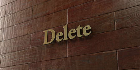 Delete - Bronze plaque mounted on maple wood wall  - 3D rendered royalty free stock picture. This image can be used for an online website banner ad or a print postcard.