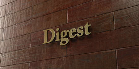 Digest - Bronze plaque mounted on maple wood wall  - 3D rendered royalty free stock picture. This image can be used for an online website banner ad or a print postcard. Stock Photo