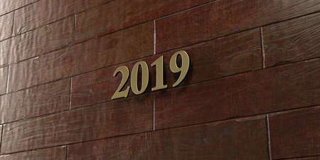 2019 - Bronze plaque mounted on maple wood wall  - 3D rendered royalty free stock picture. This image can be used for an online website banner ad or a print postcard.