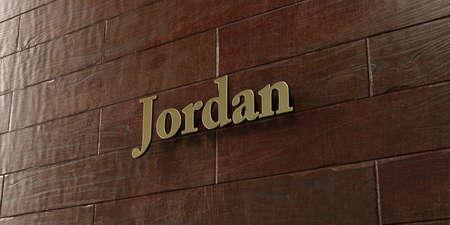 Jordan - Bronzen plaquette gemonteerd op esdoorn houten muur - afbeelding royalty-vrije stock foto. Deze afbeelding kan worden gebruikt voor een online-banneradvertentie of een prentkaart. Stockfoto
