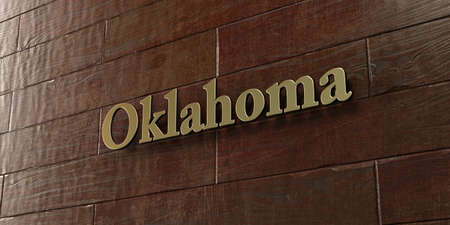 Oklahoma - Bronze plaque mounted on maple wood wall  - 3D rendered royalty free stock picture. This image can be used for an online website banner ad or a print postcard. Stock Photo