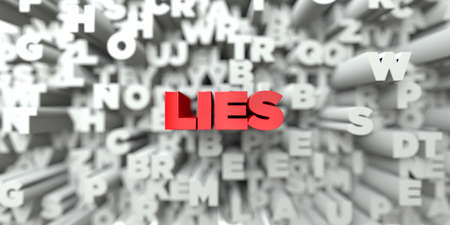 lies: LIES -  Red text on typography background - 3D rendered royalty free stock image. This image can be used for an online website banner ad or a print postcard. Stock Photo