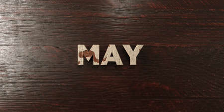 May - grungy wooden headline on Maple  - 3D rendered royalty free stock image. This image can be used for an online website banner ad or a print postcard.